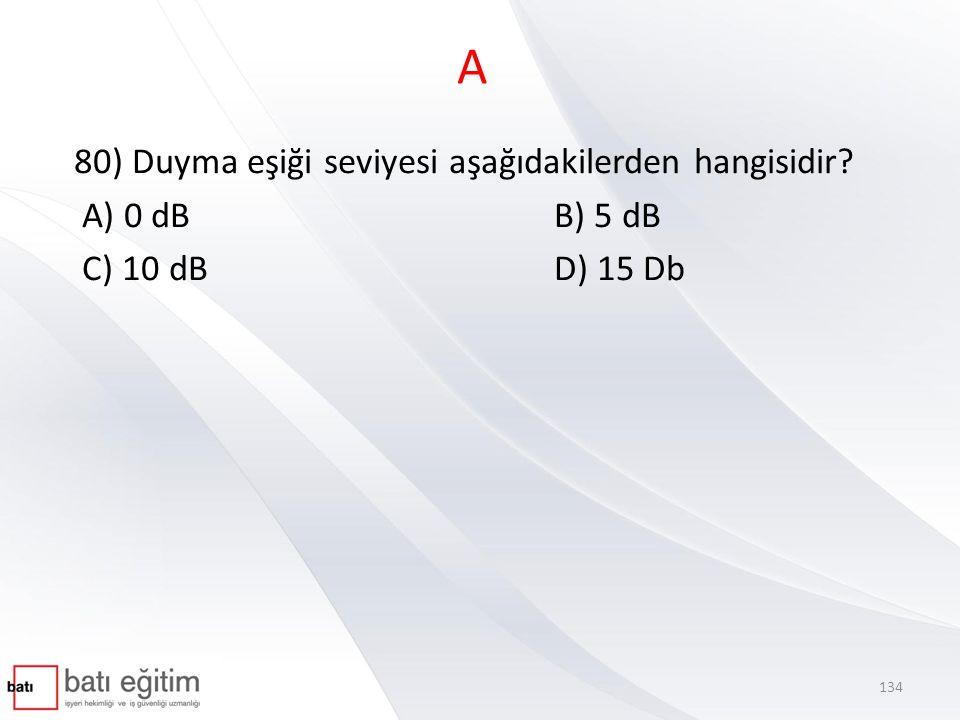 A 80) Duyma eşiği seviyesi aşağıdakilerden hangisidir A) 0 dB B) 5 dB