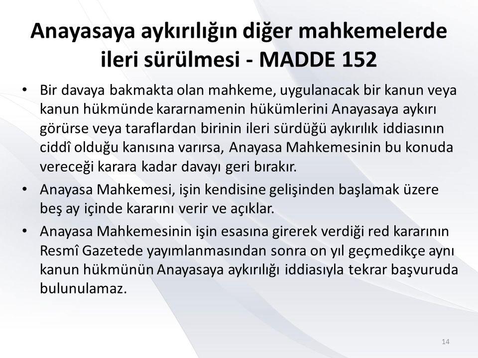 Anayasaya aykırılığın diğer mahkemelerde ileri sürülmesi - MADDE 152