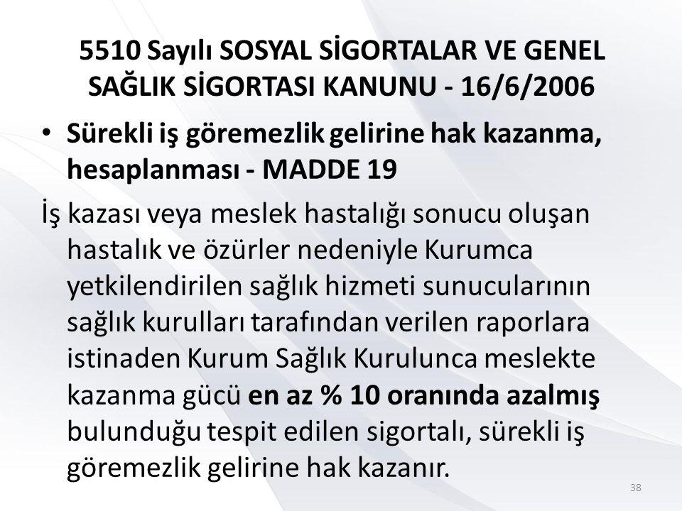 5510 Sayılı SOSYAL SİGORTALAR VE GENEL SAĞLIK SİGORTASI KANUNU - 16/6/2006