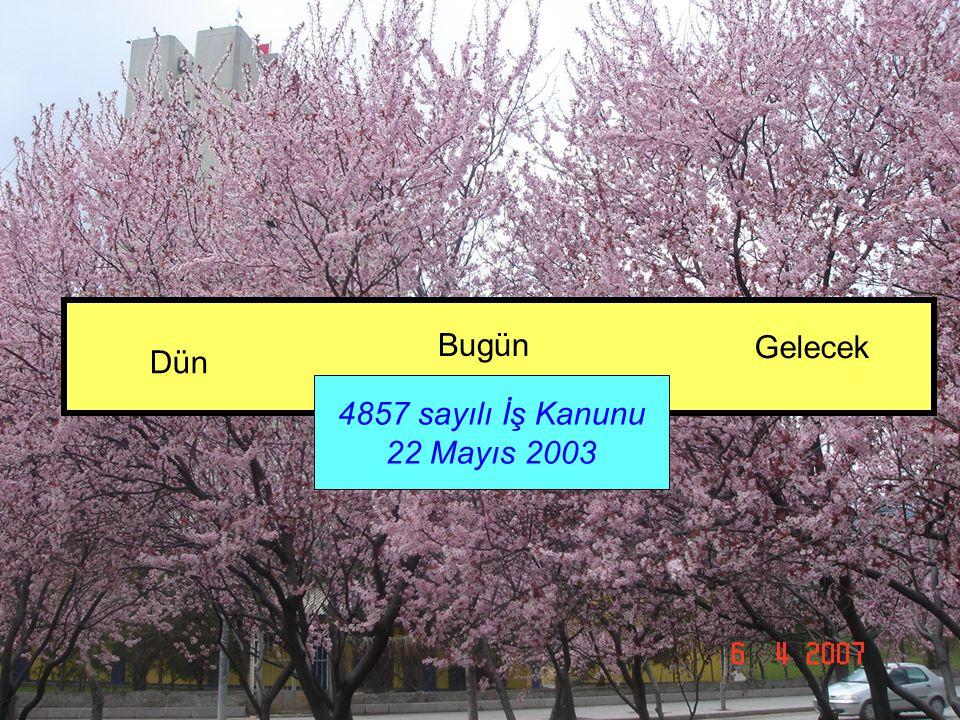 Bugün Gelecek Dün 4857 sayılı İş Kanunu 22 Mayıs 2003