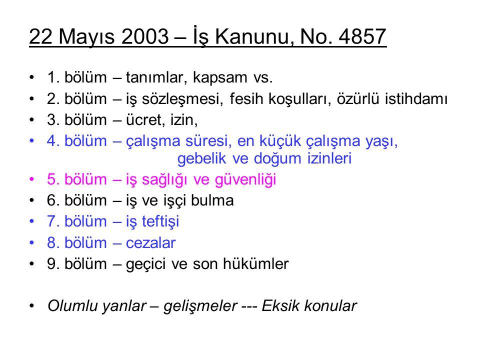 22 Mayıs 2003 – İş Kanunu, No. 4857 1. bölüm – tanımlar, kapsam vs.