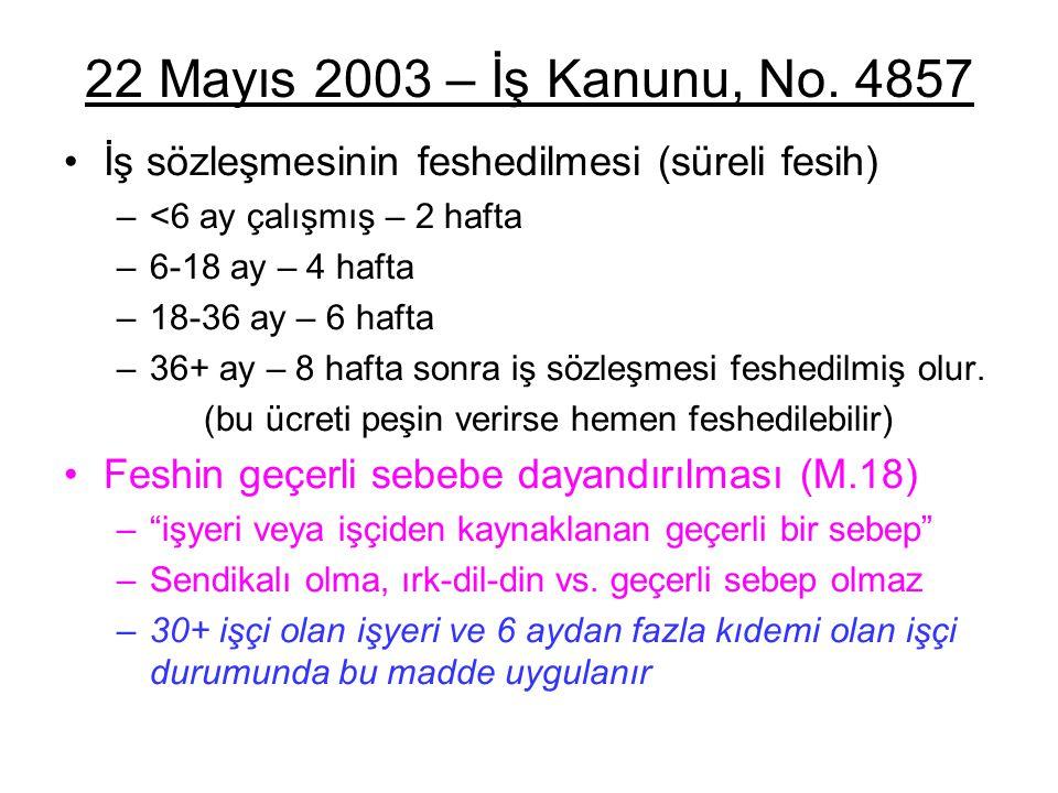 22 Mayıs 2003 – İş Kanunu, No. 4857 İş sözleşmesinin feshedilmesi (süreli fesih) <6 ay çalışmış – 2 hafta.