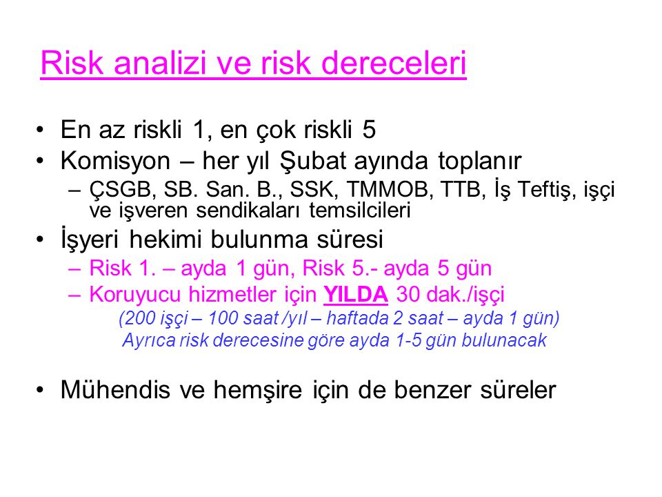 Risk analizi ve risk dereceleri