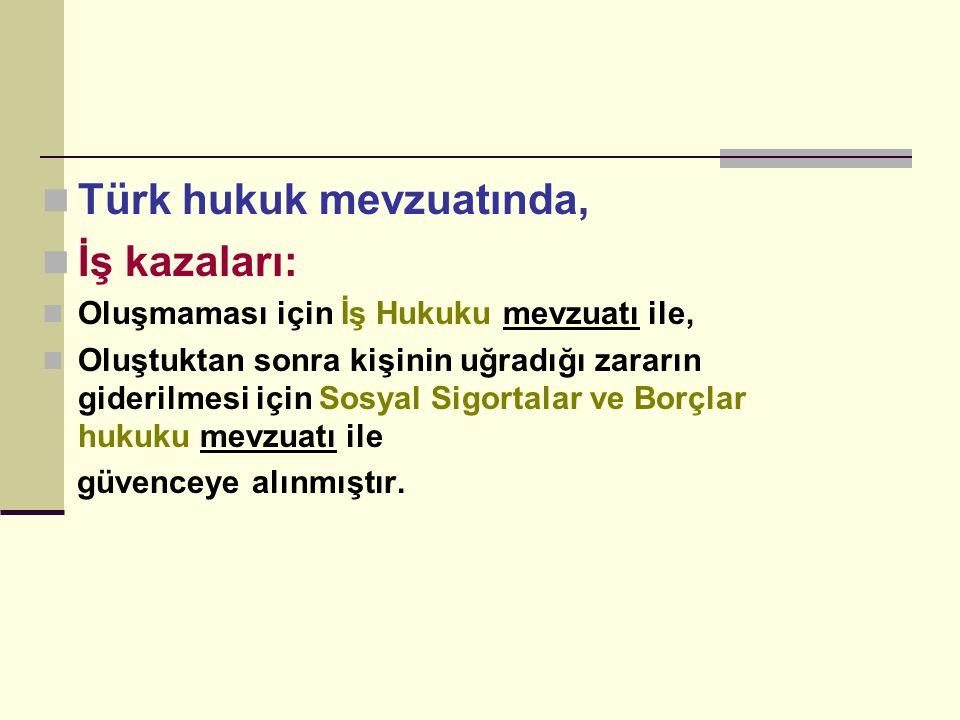 Türk hukuk mevzuatında, İş kazaları: