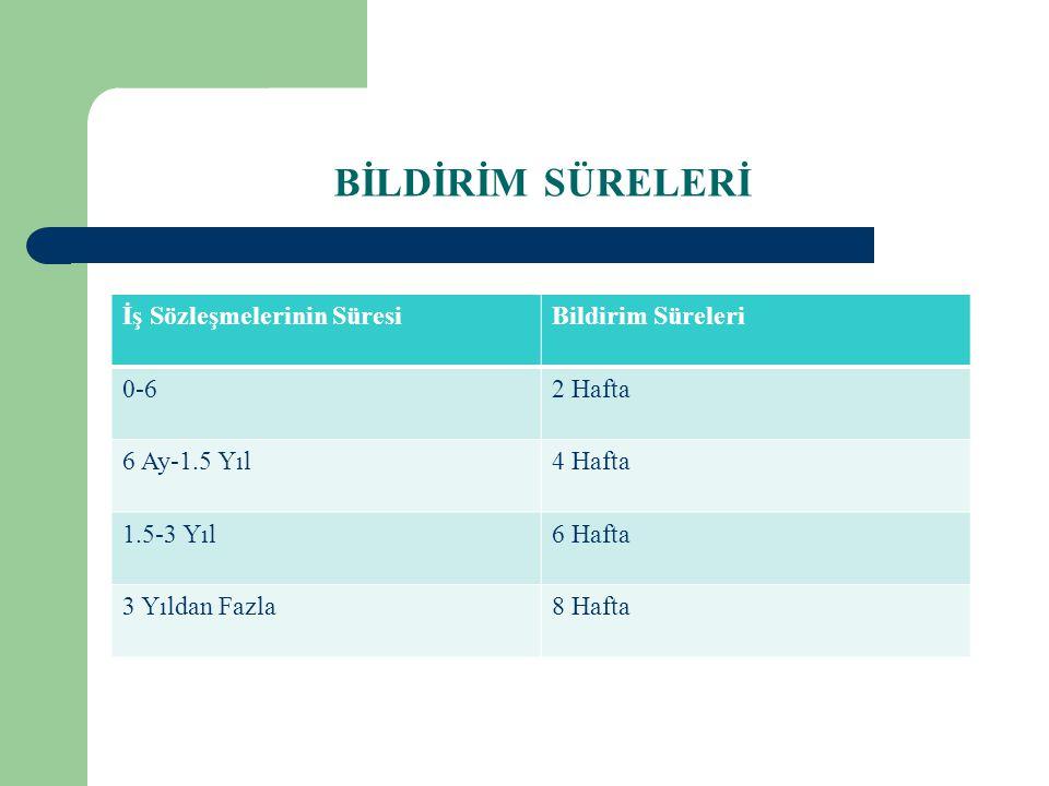 BİLDİRİM SÜRELERİ İş Sözleşmelerinin Süresi Bildirim Süreleri 0-6