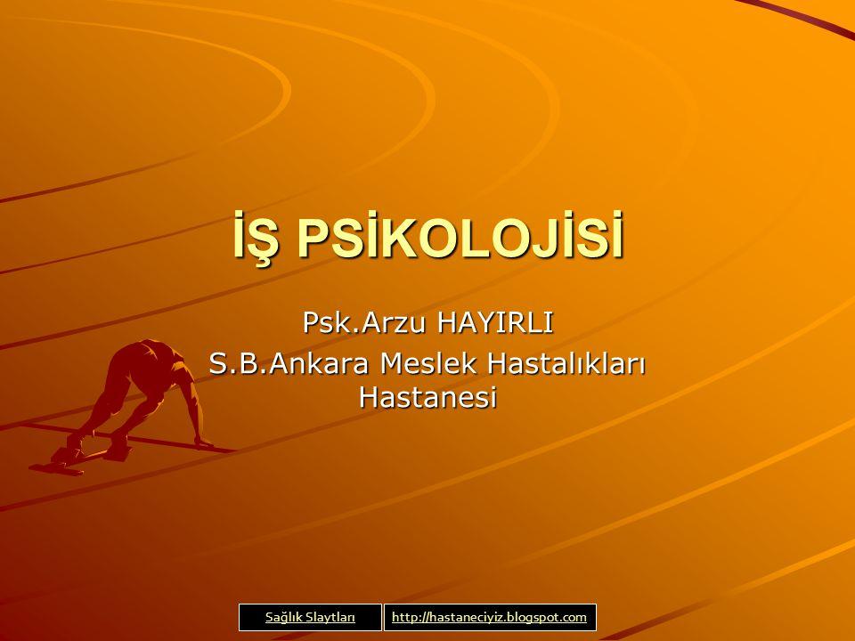 Psk.Arzu HAYIRLI S.B.Ankara Meslek Hastalıkları Hastanesi