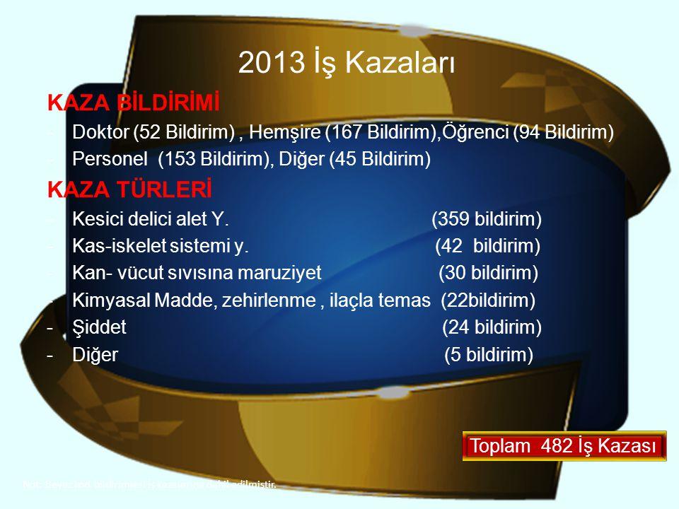 2013 İş Kazaları KAZA BİLDİRİMİ KAZA TÜRLERİ