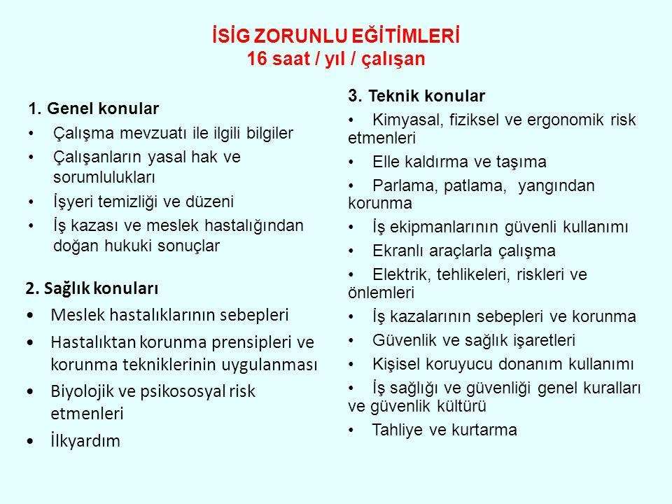 İSİG ZORUNLU EĞİTİMLERİ 16 saat / yıl / çalışan