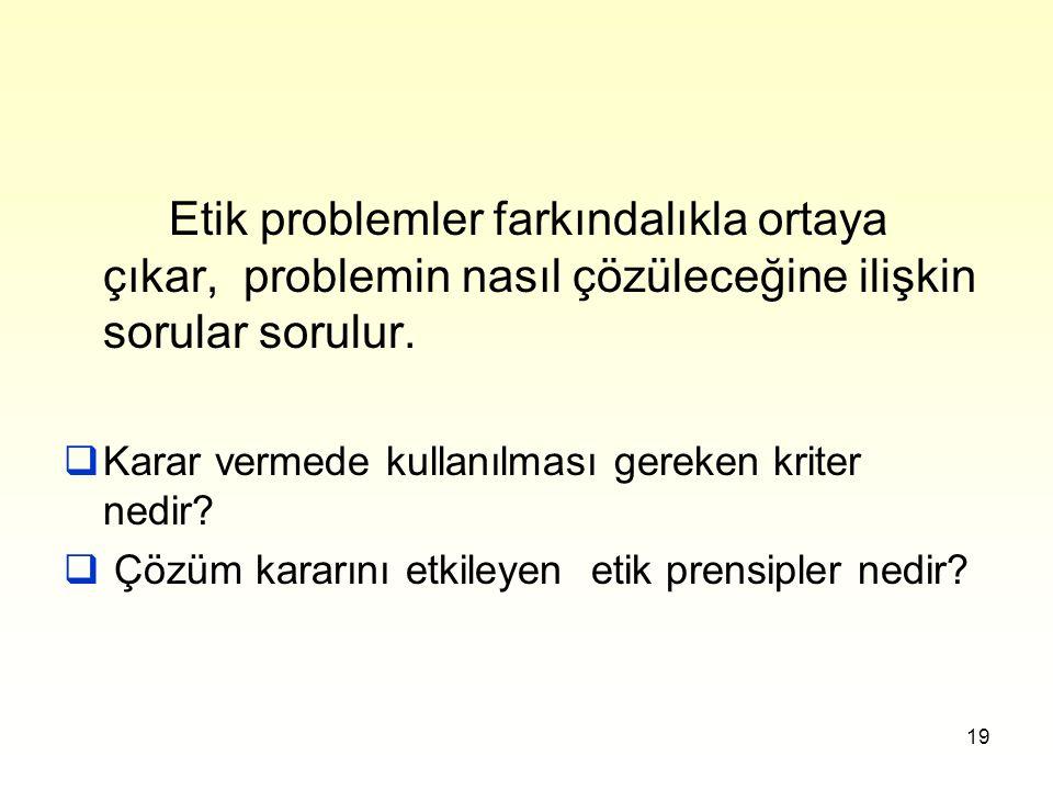 Etik problemler farkındalıkla ortaya çıkar, problemin nasıl çözüleceğine ilişkin sorular sorulur.