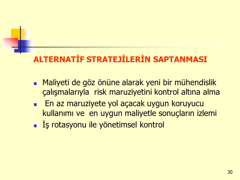 ALTERNATİF STRATEJİLERİN SAPTANMASI
