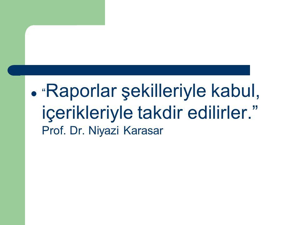 Raporlar şekilleriyle kabul, içerikleriyle takdir edilirler. Prof