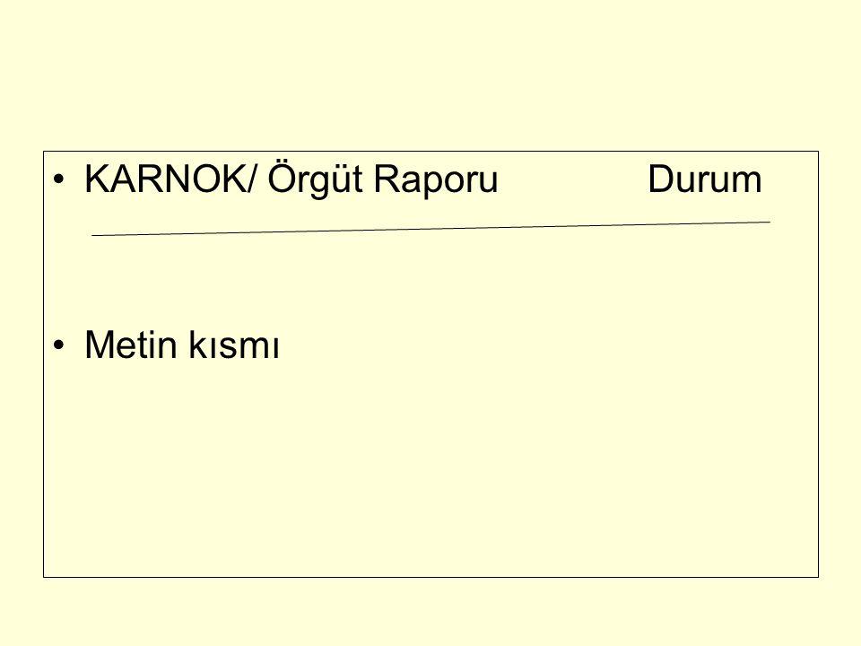 KARNOK/ Örgüt Raporu Durum