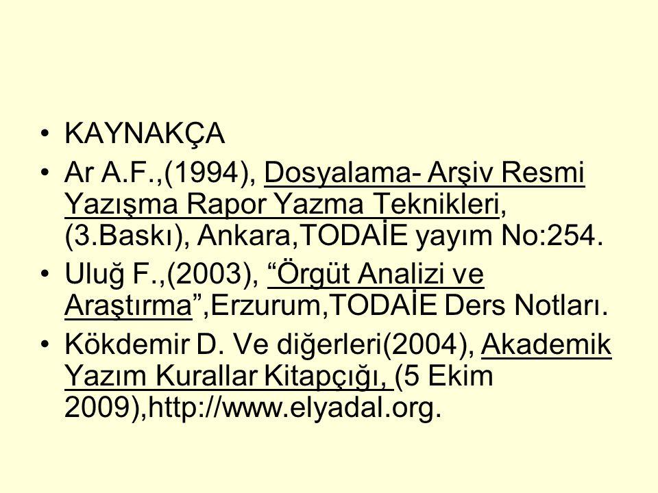 KAYNAKÇA Ar A.F.,(1994), Dosyalama- Arşiv Resmi Yazışma Rapor Yazma Teknikleri, (3.Baskı), Ankara,TODAİE yayım No:254.