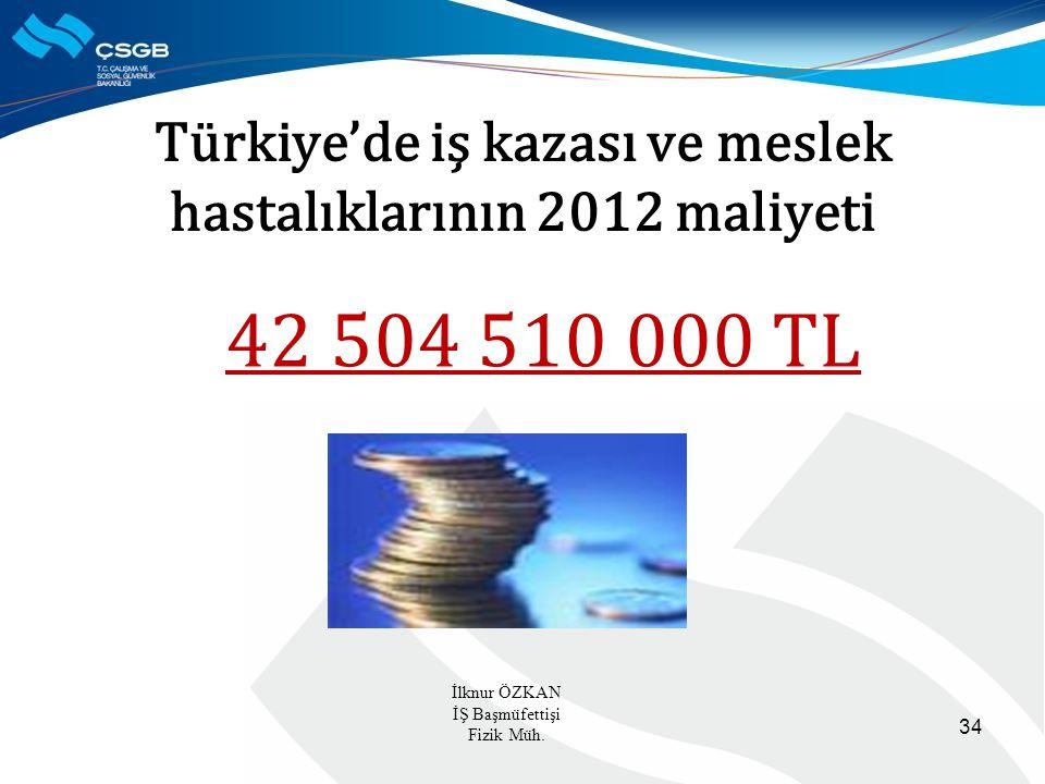 Türkiye'de iş kazası ve meslek hastalıklarının 2012 maliyeti