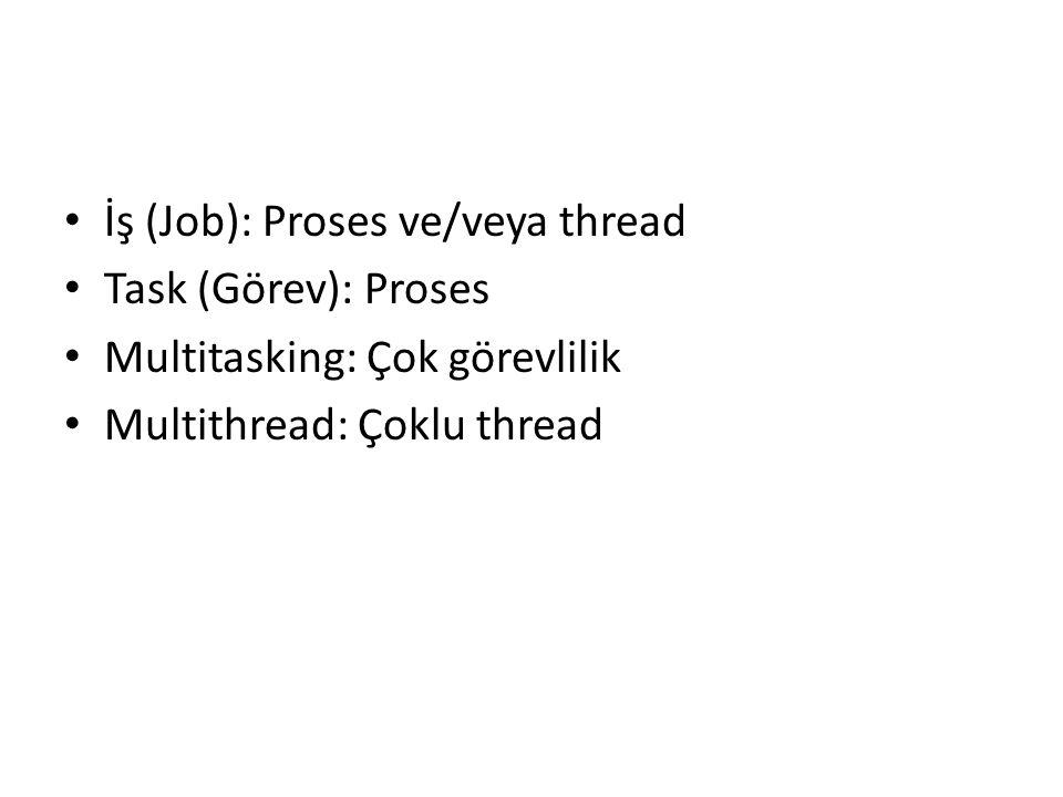 İş (Job): Proses ve/veya thread
