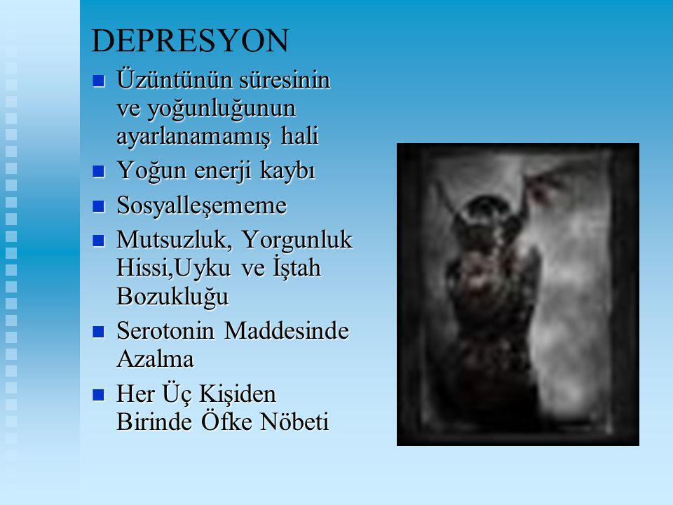 DEPRESYON Üzüntünün süresinin ve yoğunluğunun ayarlanamamış hali