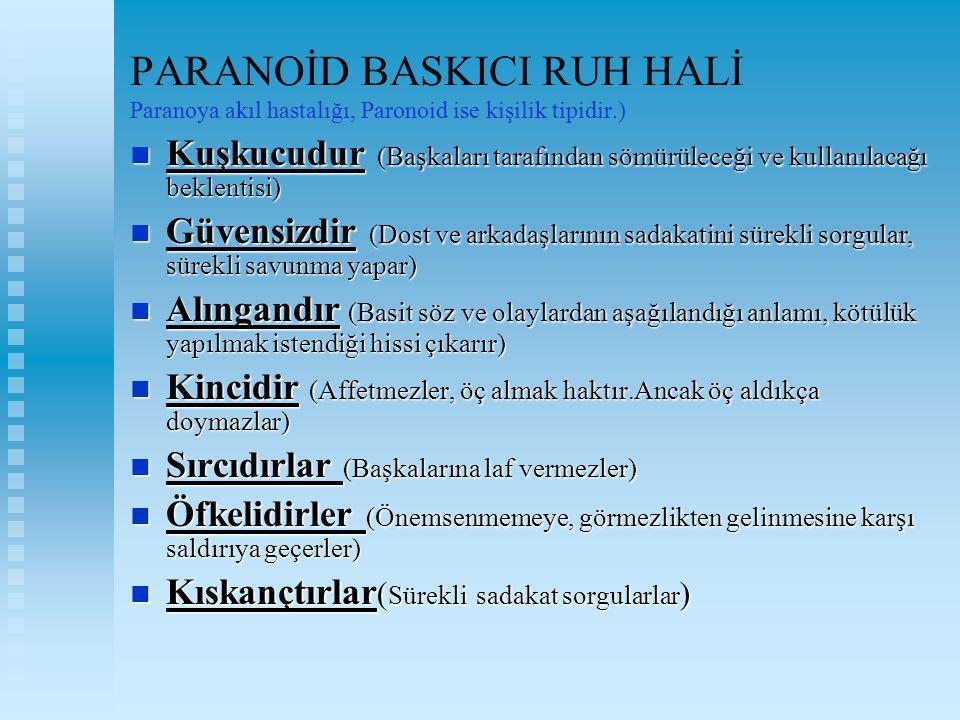 PARANOİD BASKICI RUH HALİ Paranoya akıl hastalığı, Paronoid ise kişilik tipidir.)