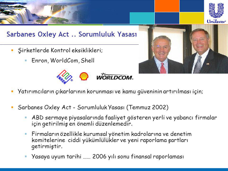 Sarbanes Oxley Act .. Sorumluluk Yasası