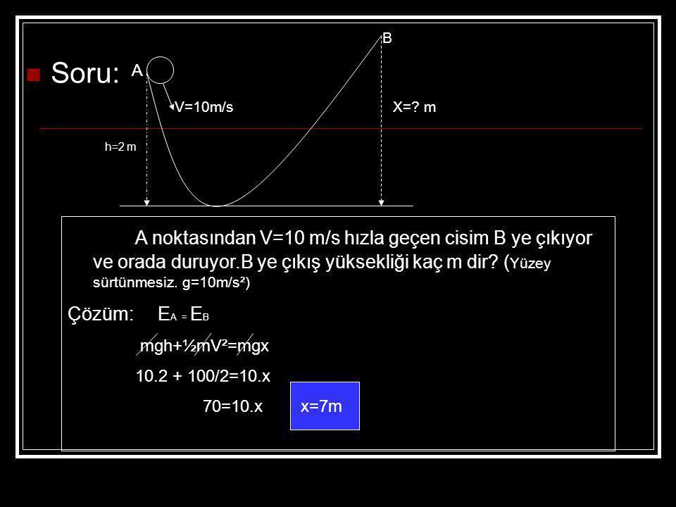 B Soru: A. V=10m/s. X= m. h=2 m.