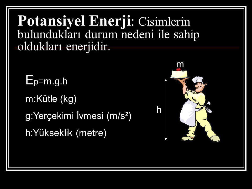 Potansiyel Enerji: Cisimlerin bulundukları durum nedeni ile sahip oldukları enerjidir.