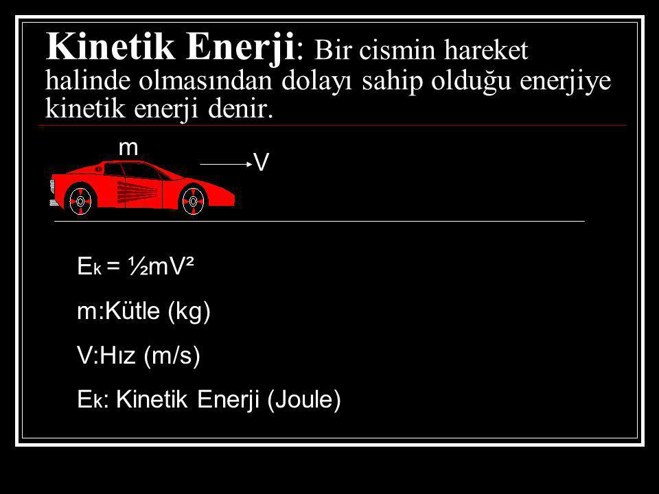 Kinetik Enerji: Bir cismin hareket halinde olmasından dolayı sahip olduğu enerjiye kinetik enerji denir.