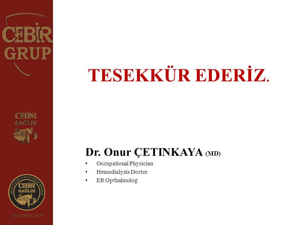 TESEKKÜR EDERİZ. Dr. Onur ÇETINKAYA (MD) Occupational Physician