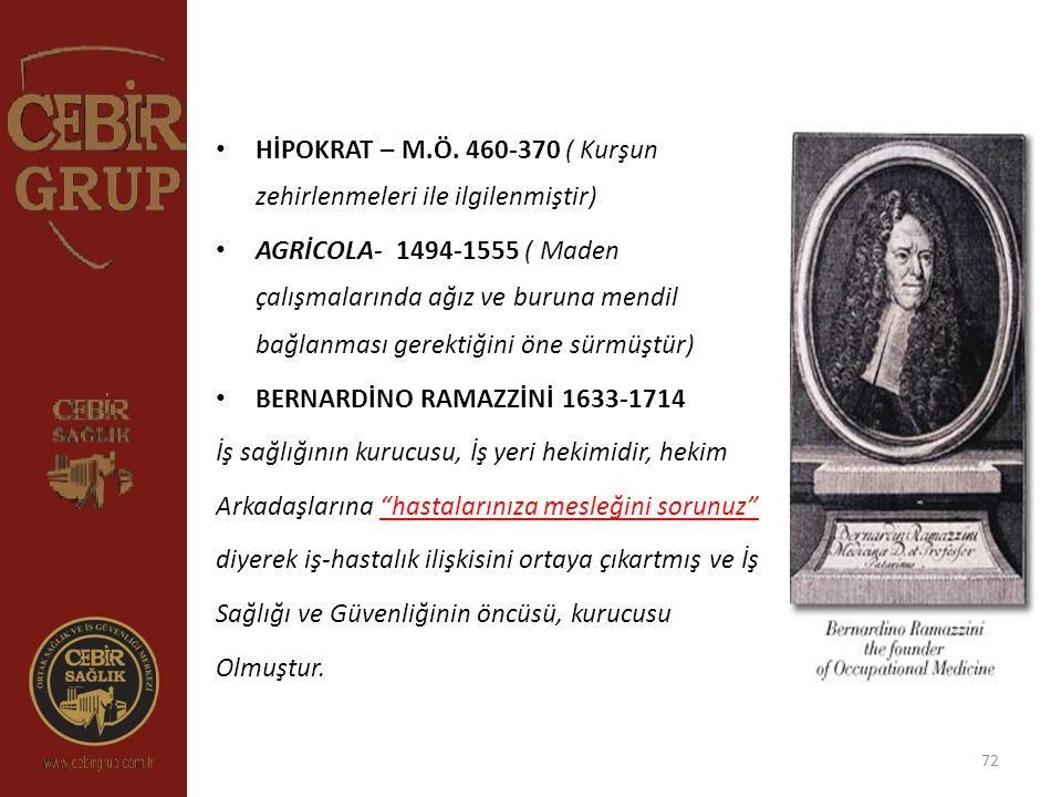 HİPOKRAT – M.Ö. 460-370 ( Kurşun zehirlenmeleri ile ilgilenmiştir)