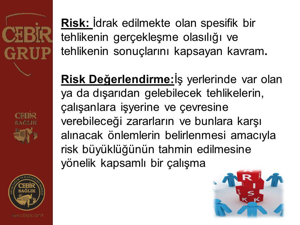 Risk: İdrak edilmekte olan spesifik bir tehlikenin gerçekleşme olasılığı ve tehlikenin sonuçlarını kapsayan kavram.