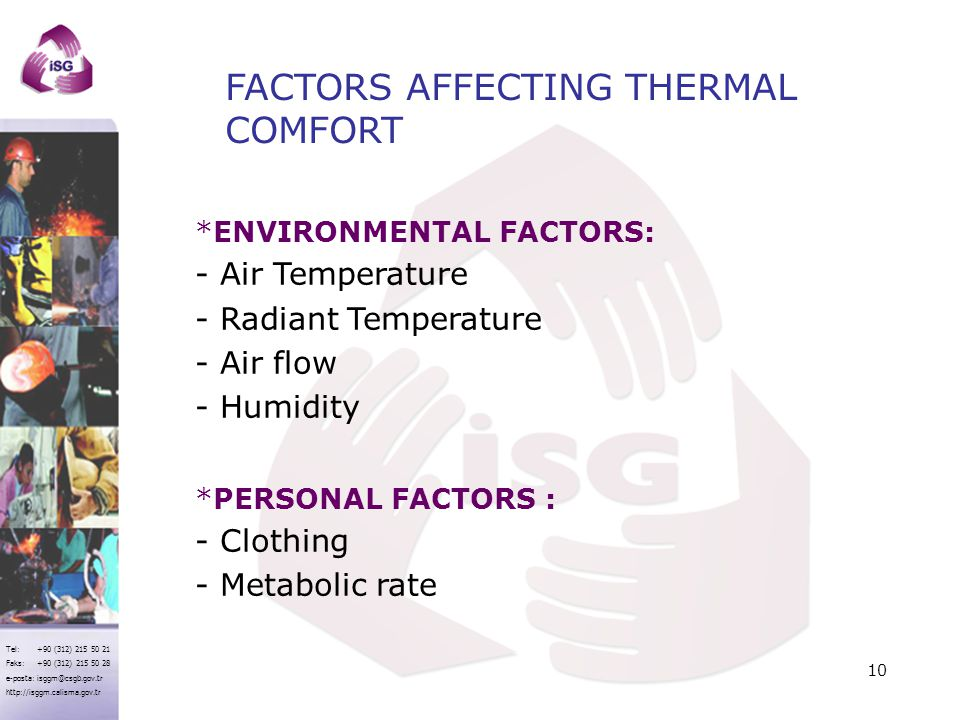 FACTORS AFFECTING THERMAL COMFORT
