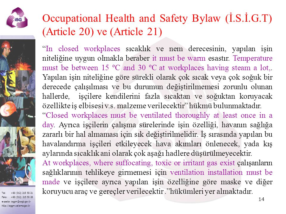 Occupational Health and Safety Bylaw (İ. S. İ. G