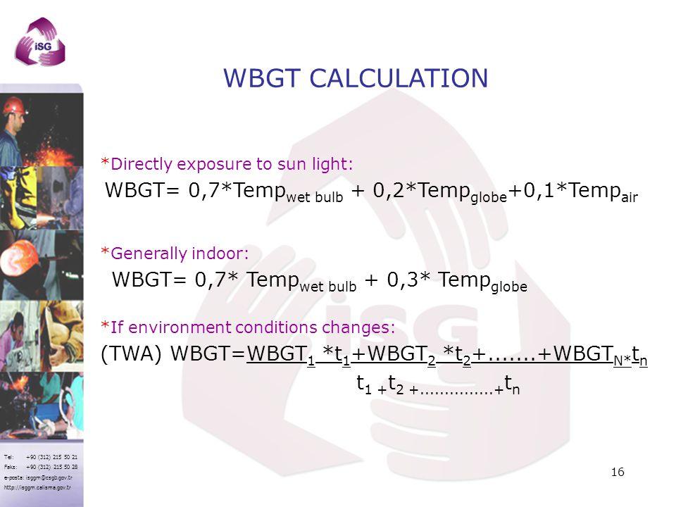 WBGT CALCULATION WBGT= 0,7*Tempwet bulb + 0,2*Tempglobe+0,1*Tempair