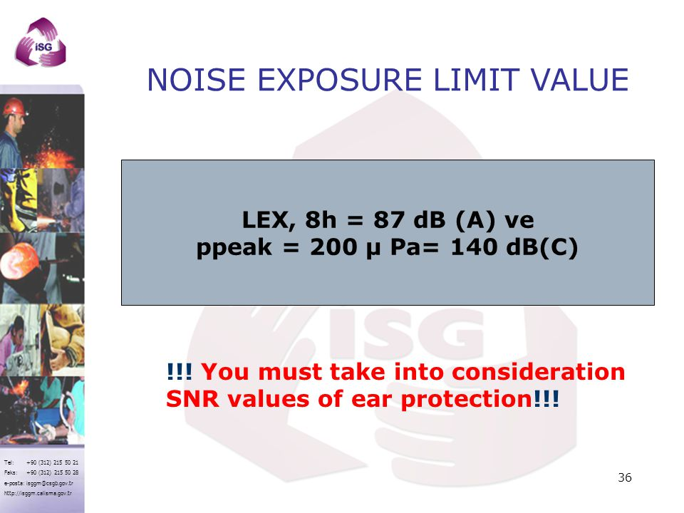 NOISE EXPOSURE LIMIT VALUE