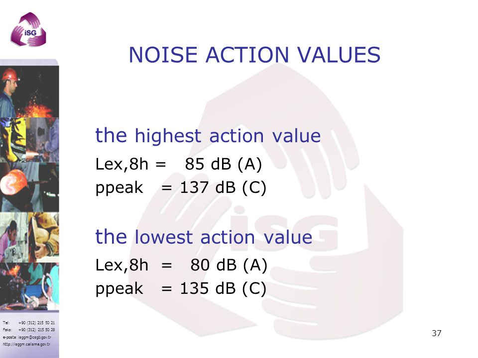 NOISE ACTION VALUES the highest action value Lex,8h = 85 dB (A)