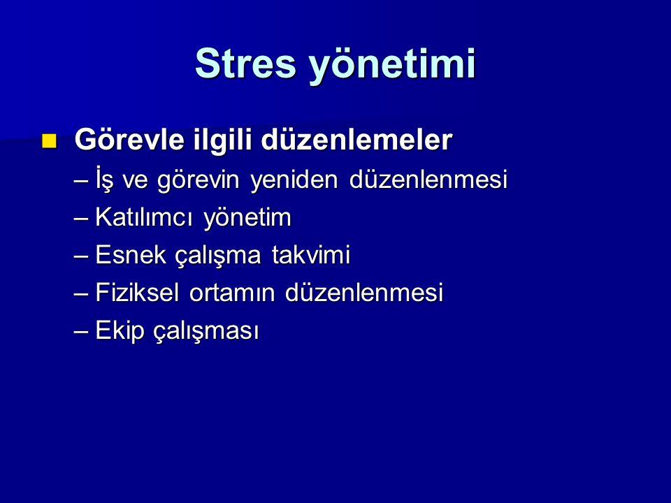 Stres yönetimi Görevle ilgili düzenlemeler