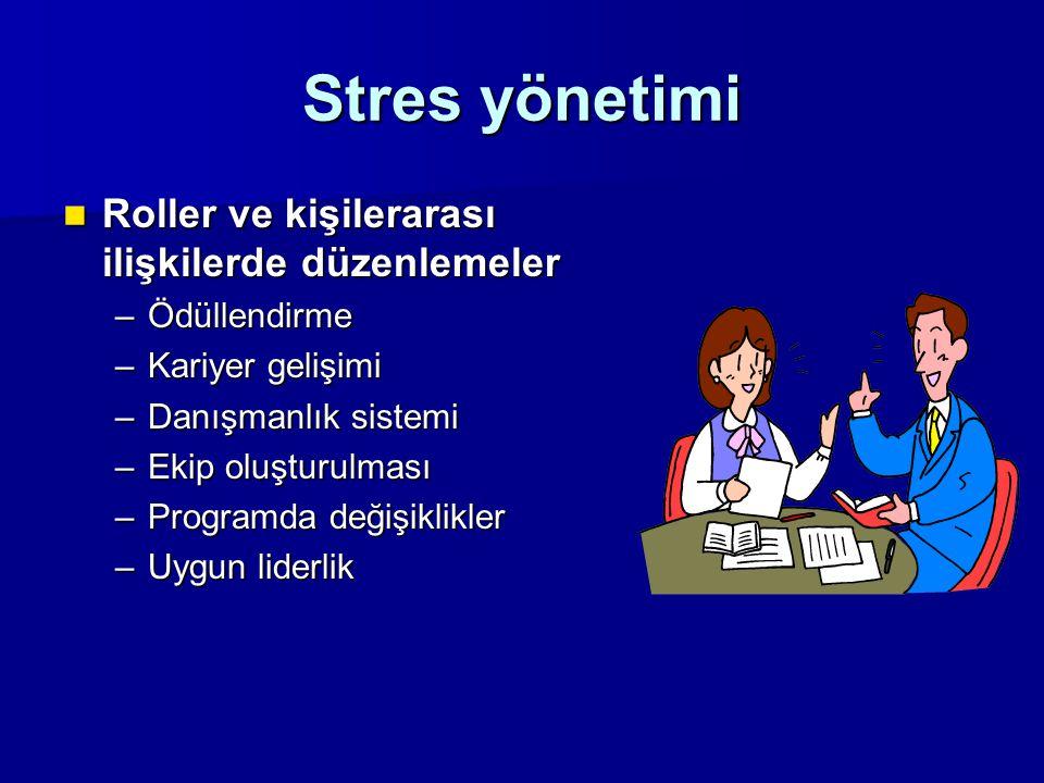 Stres yönetimi Roller ve kişilerarası ilişkilerde düzenlemeler