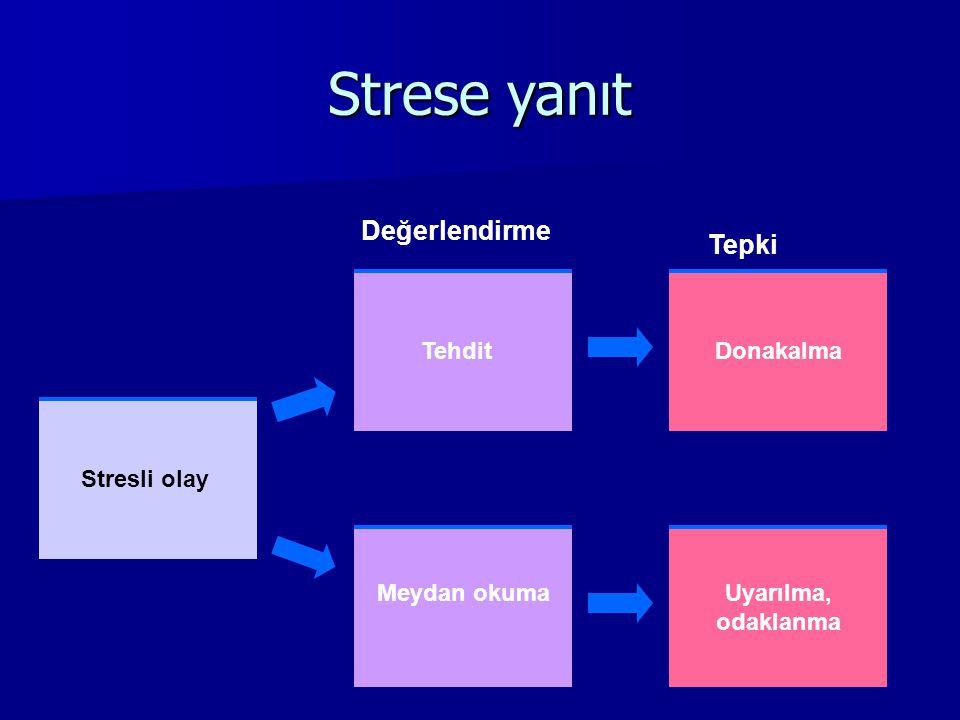 Strese yanıt Değerlendirme Tepki Tehdit Donakalma Stresli olay