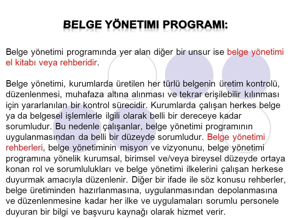 belge yönetimi programI:
