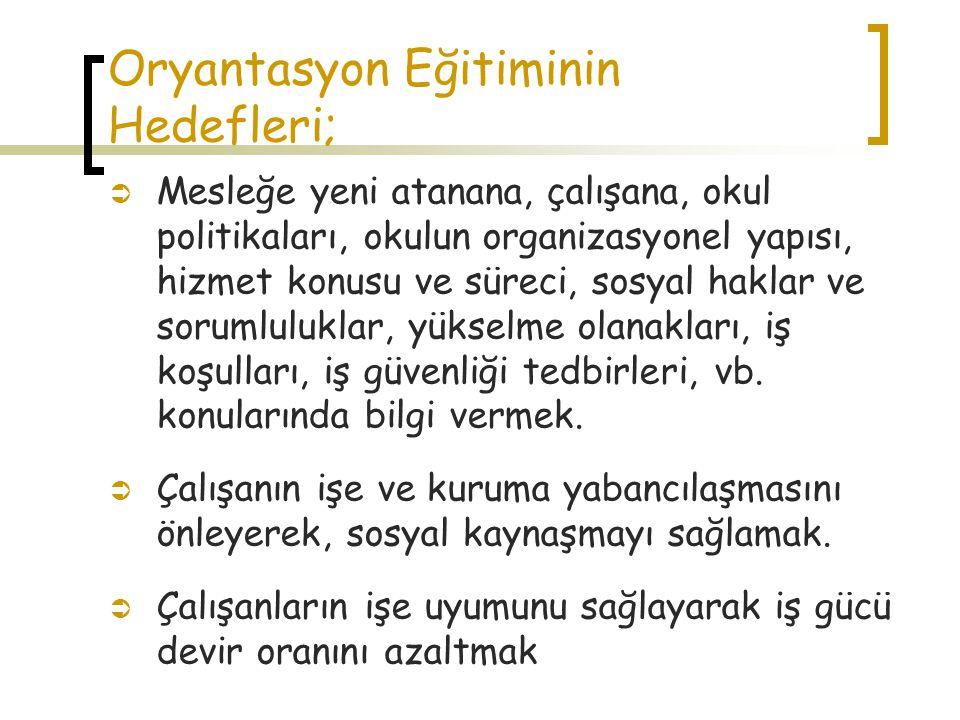 Oryantasyon Eğitiminin Hedefleri;
