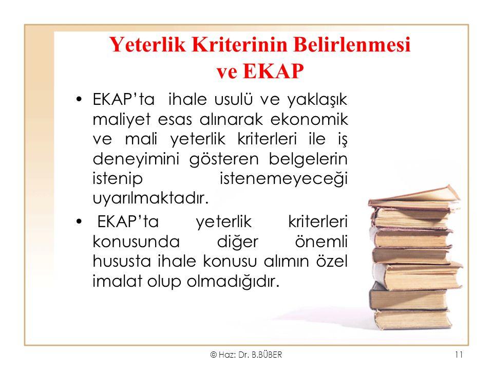 Yeterlik Kriterinin Belirlenmesi ve EKAP