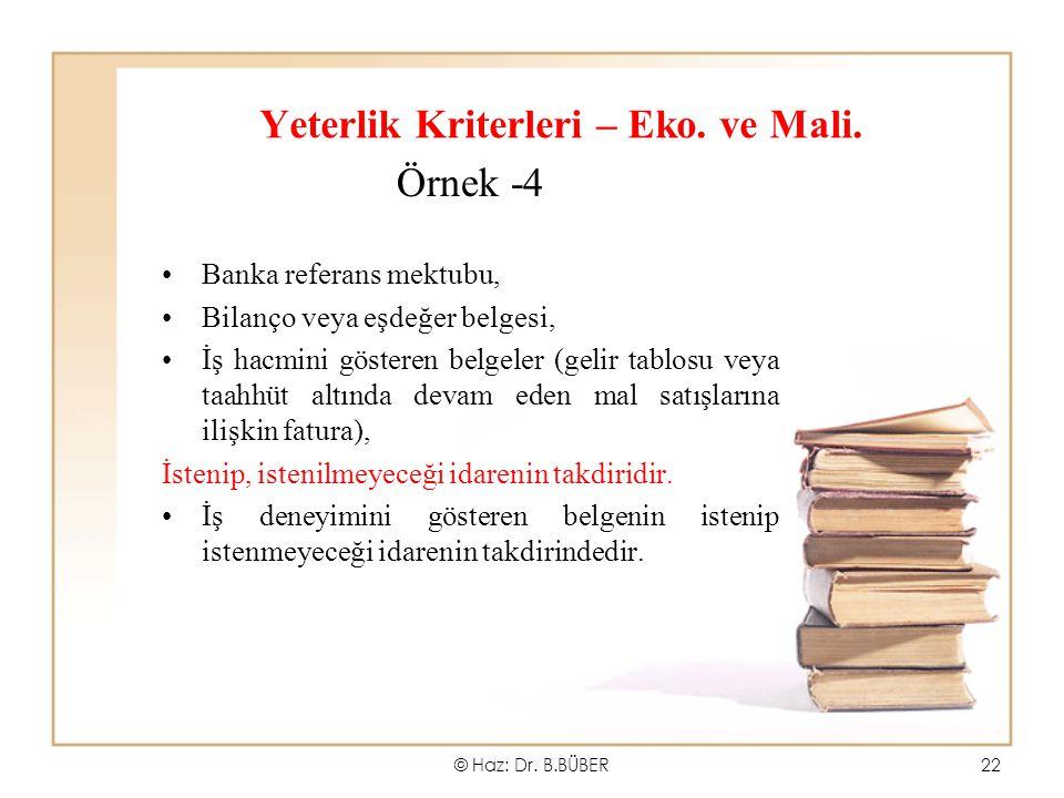 Yeterlik Kriterleri – Eko. ve Mali.