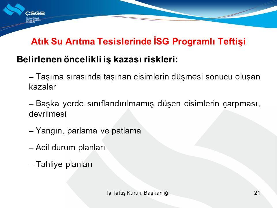 Atık Su Arıtma Tesislerinde İSG Programlı Teftişi