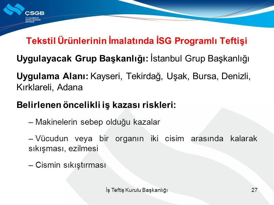 Tekstil Ürünlerinin İmalatında İSG Programlı Teftişi