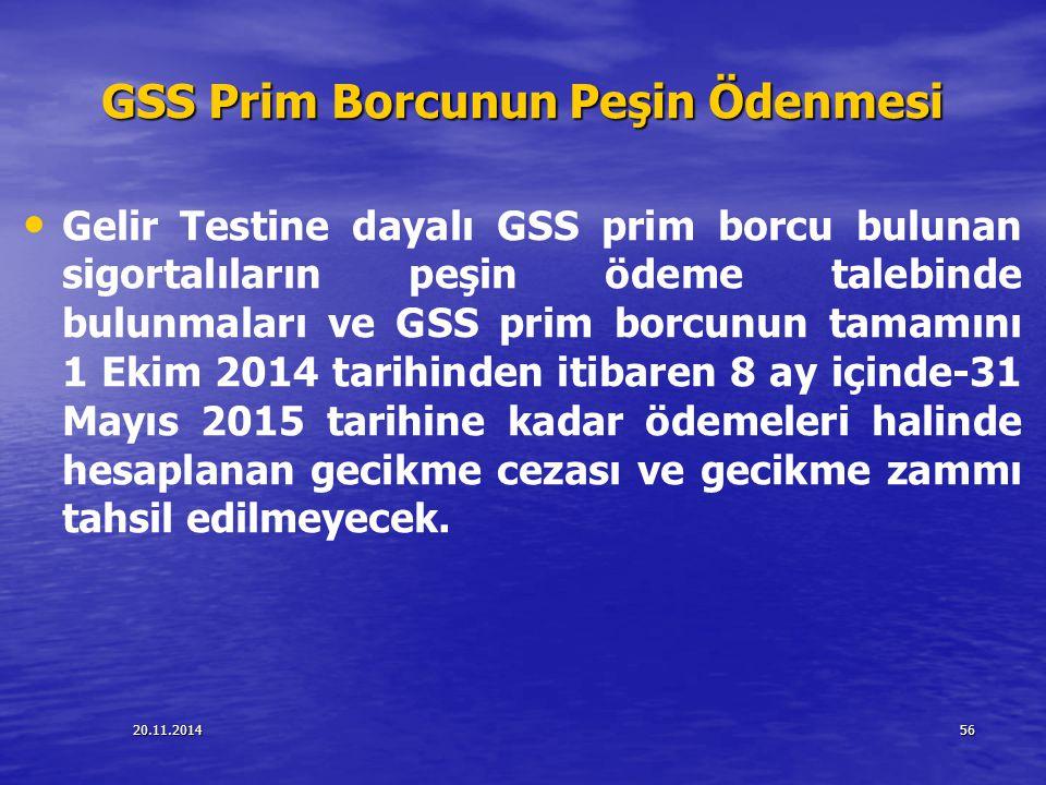 GSS Prim Borcunun Peşin Ödenmesi