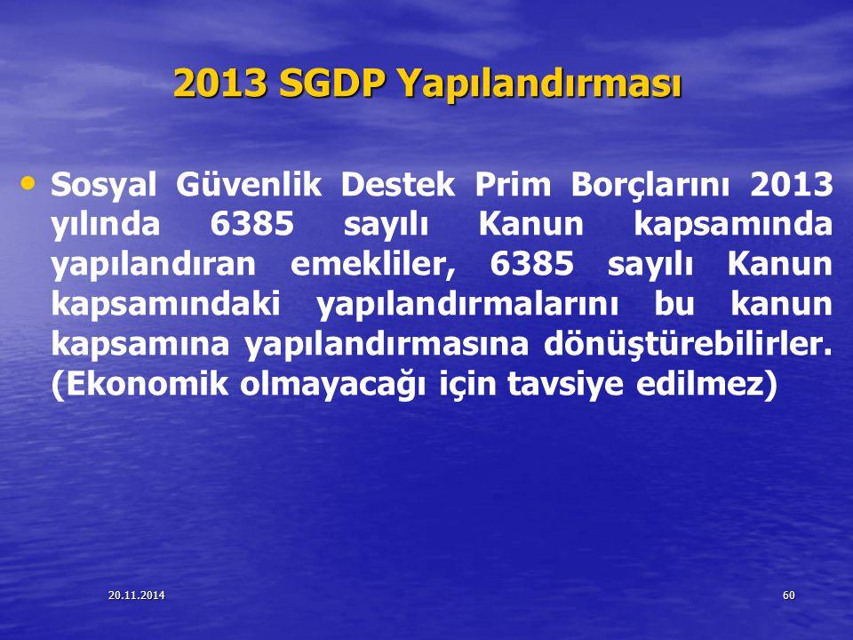 2013 SGDP Yapılandırması