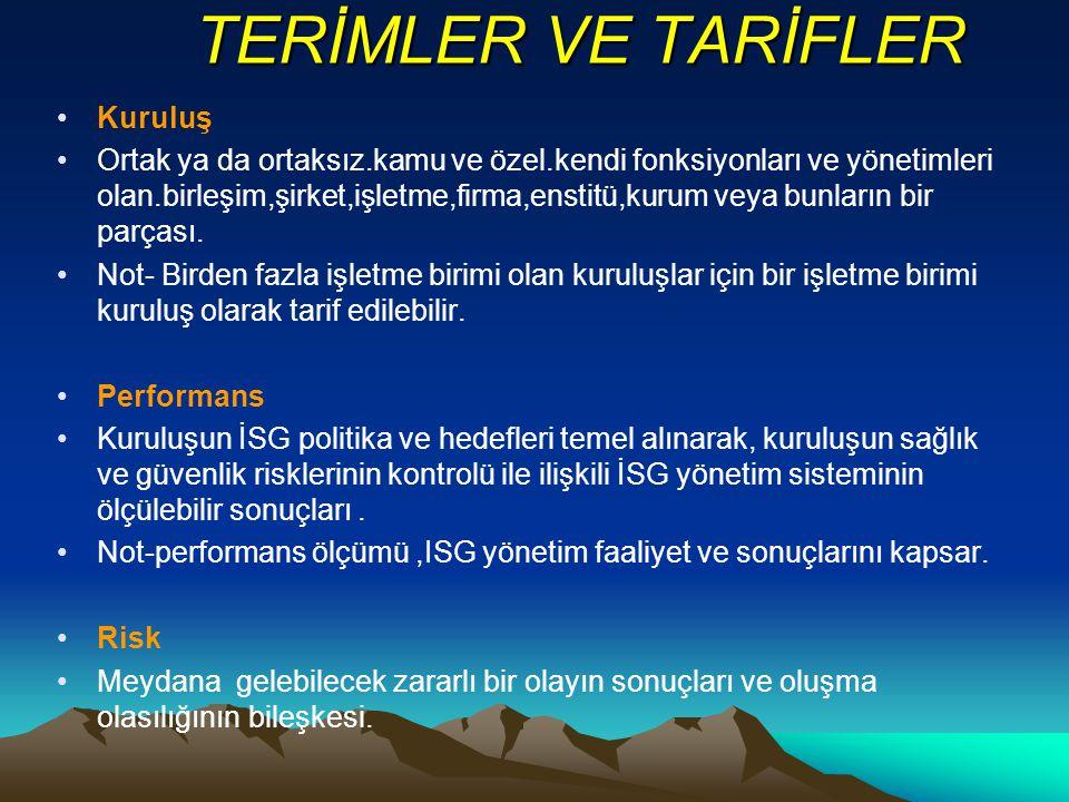 TERİMLER VE TARİFLER Kuruluş