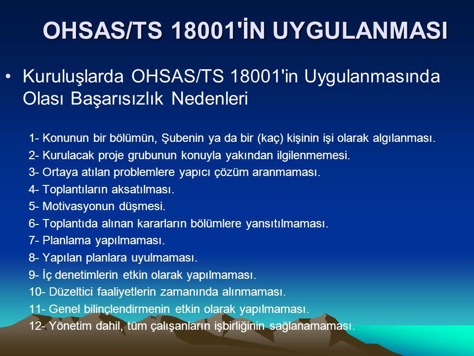 OHSAS/TS 18001 İN UYGULANMASI