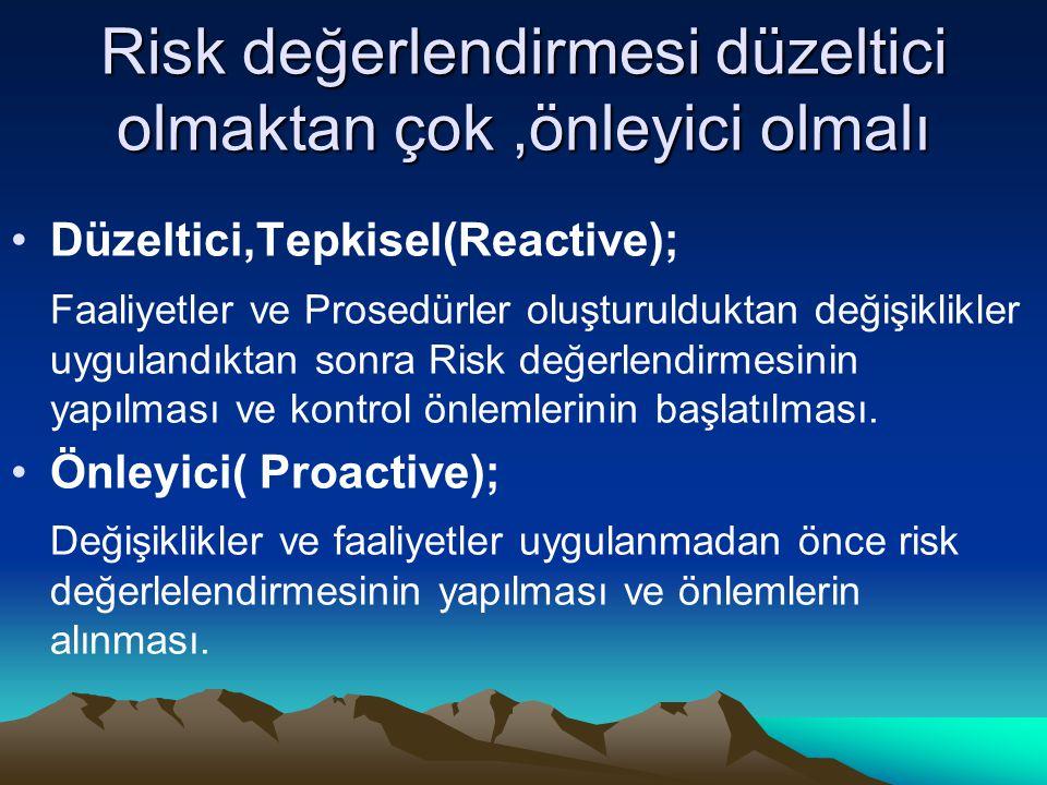 Risk değerlendirmesi düzeltici olmaktan çok ,önleyici olmalı