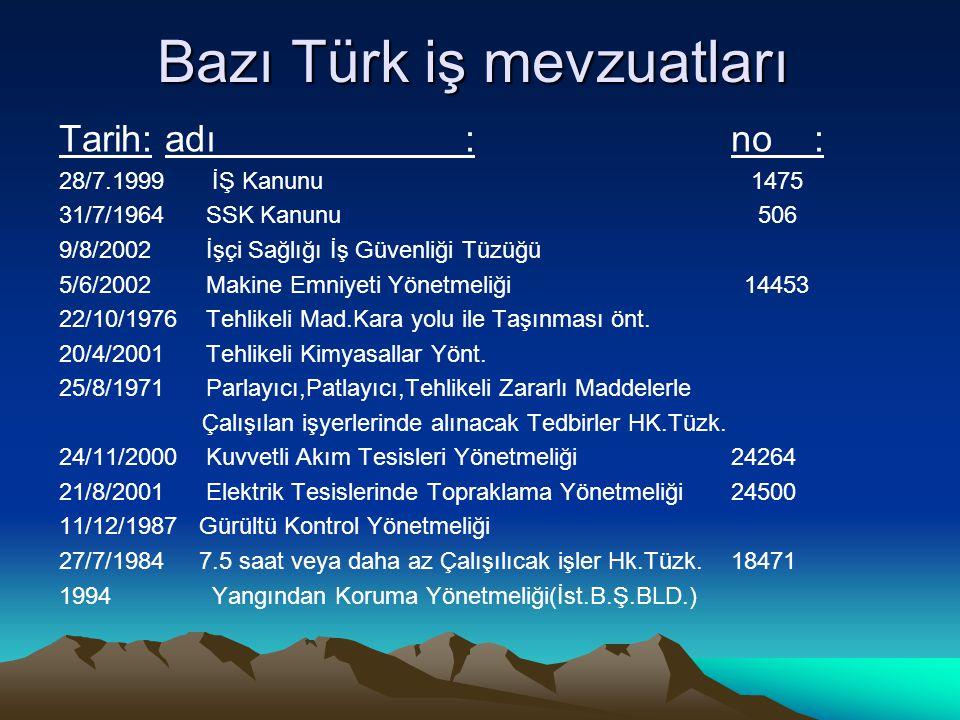 Bazı Türk iş mevzuatları