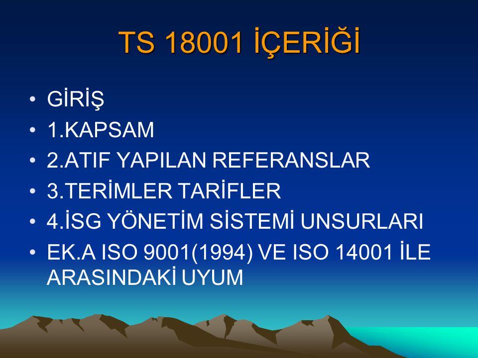 TS 18001 İÇERİĞİ GİRİŞ 1.KAPSAM 2.ATIF YAPILAN REFERANSLAR