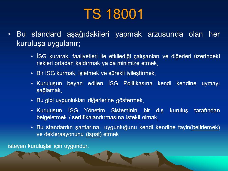 TS 18001 Bu standard aşağıdakileri yapmak arzusunda olan her kuruluşa uygulanır;
